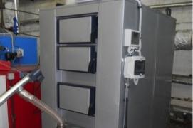 Installed 150 kW pellet burner with boiler