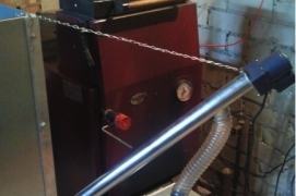 Pellet burner BurnPell X.Mini35 (35 kW) installed in solid fuel boiler KAITEC